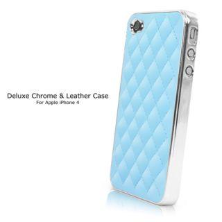 Deluxe Luxury Leather Chrome Tasche Hülle für Apple iPhone 4S   Blue