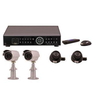 264 DVR 4 Kanal Videorecorder inkl. 2 IR Kameras und 2 IR Dome