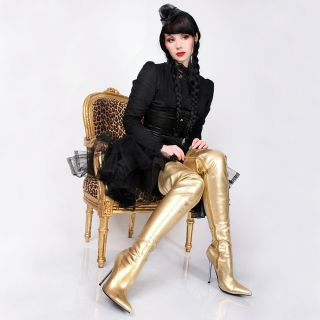 Lack Overknee High Heels gold lange Stiefel GoGo Striptease Fetisch