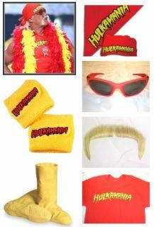 Hulk Hogan Hulkamania COSTUME T shirt bandana moustache wristbands