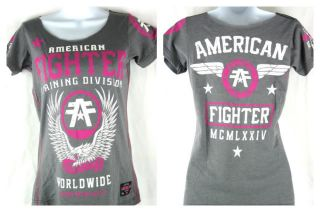 American Fighter Fly By scoop neck Womens Gray T shirt New