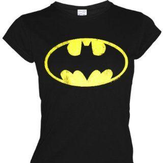 LOGOSHRT Retro Comic Damen T Shirt BATMAN LOGO   SCHWARZ Gr. L