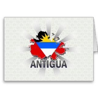 Antigua Flag Map 2.0 Greeting Card