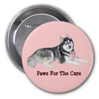 Siberian Husky Breast Cancer Button