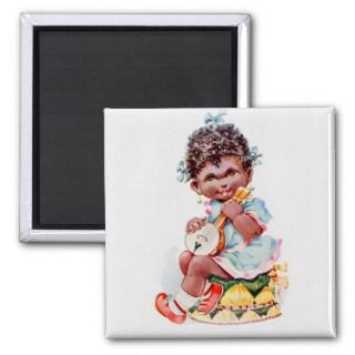 black americana girl with ukelele fridge magnets