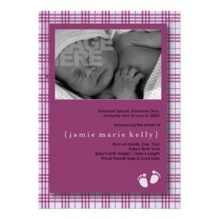 Baby Steps Birth Announcement  Light Purple Plaid