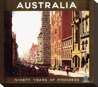 Australia, Ninety Years of Progress Stretched Canvas Print