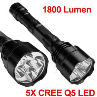 1800LM CREE Q5 5 LED Taschenlampe Flashlight wasserdicht 5 Modi Zoom