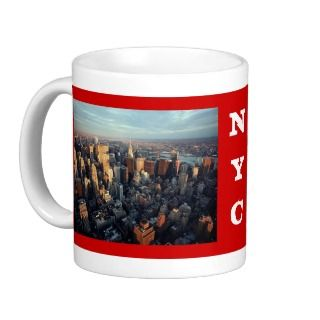 Sun Is Setting On New York City City scape View Coffee Mugs