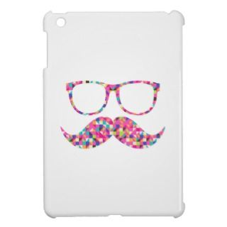 Funny Girly Pink Abstract Mustache Hipster Glasses iPad Mini Cases