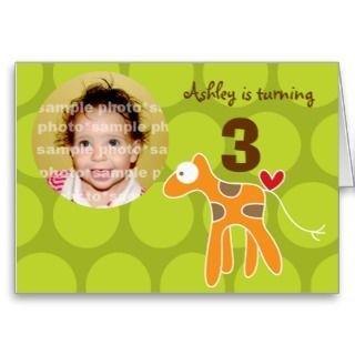 Cartoon Giraffe Kid Birthday Invitation Card