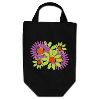 Retro Boho Crazy Daisy Dazy Flower Power Tote Canvas Bag