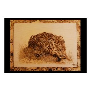 Pyrographic Art burned on Birch wood. Drinking Leopard was originally