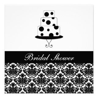 Stylish Damask Wedding Cake Bridal Shower Custom Invites