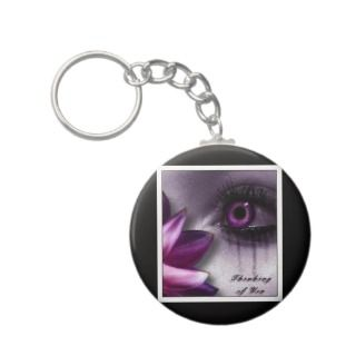 Thinking of you Purple Tears girl woman emo sad Key Chain