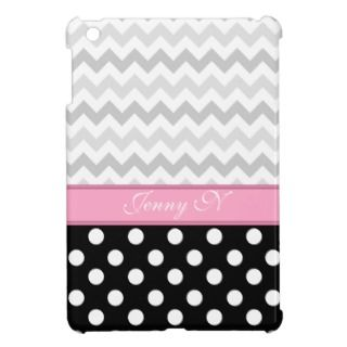 Gray Chevron Black Polka Dot Pink iPad Mini Case
