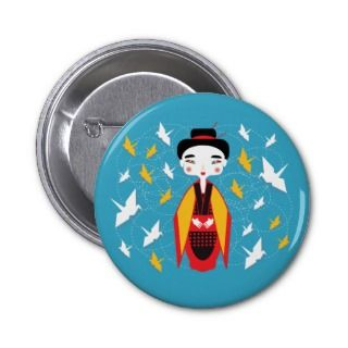 Japanese Geisha and origami birds Pinback Button