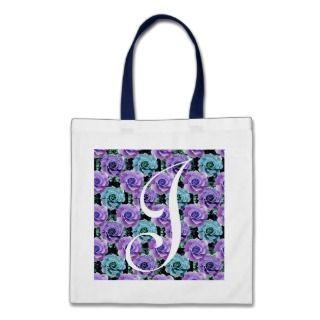 Monogram Blue Roses ToteBag Letter J