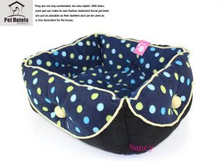 Warm and Soft Pet Dog Cat Bed House Medium velvet Blue