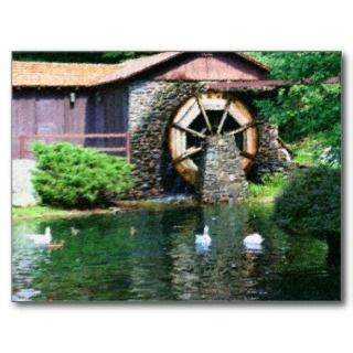 Water Wheel Pond Sat Painting Postcard