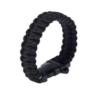 Black Paracord Parachute Instantaneous Cord Bracelet Whistle Buckle
