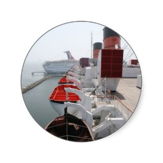Queen Mary Cruise Ship Round Sticker