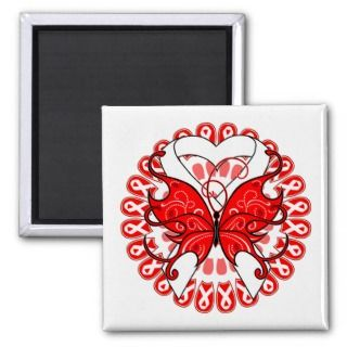 Lung Cancer Butterfly Circle of Ribbons Magnets