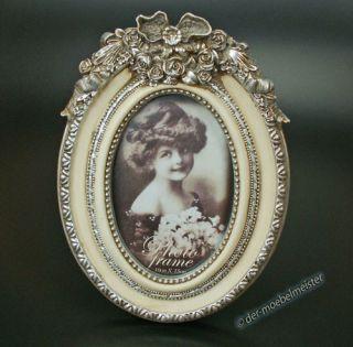 Louis XVI Bilderrahmen Fotorahmen Oval Silber Creme weiß Holz Rokoko