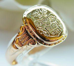 massiver Wappenring Adelsring Gold 585 Siegelring (R316)