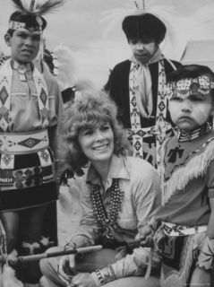 Native American Zuni Tribes People with Actress Jill St. John, Wearing Jewelry Made by the Tribe Premium Photographic Print by Michael Mauney