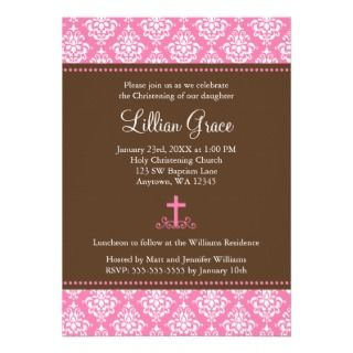 Pink Brown Damask Cross Girl Baptism Christening Invites