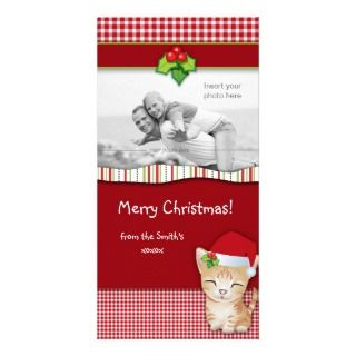 Christmas Kitten Cat Gingham Check Photo Card