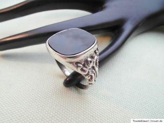 Spitze Jugendstil Siegel Silber Ring,835 gestempelt,, mit ONYX ,,Top