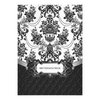 Red Damask Black and White Holiday Greeting Card