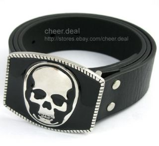 Demon Skull Bone Mens Buckle +Leather Belt waist 36 38