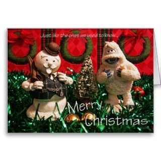 Christmas Snowman and Yeti Greeting Card