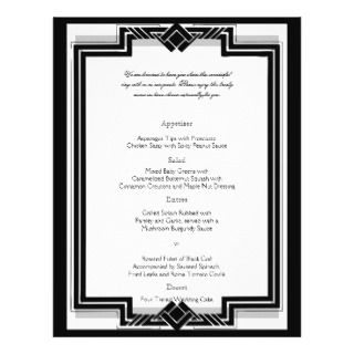 Black White Silver Art Deco Frame Wedding Invites