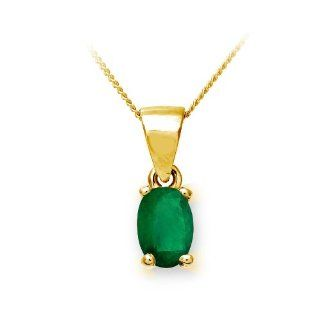 Gift Collection Ê9 ct Gold Damen Anh?nger & Kette mit Smaragd 0,40