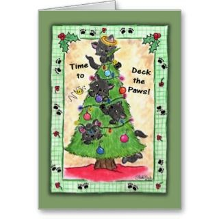 Deck the Paws  Cats in Christmas Tree Card