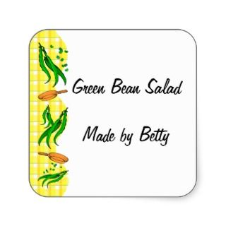 Green Beans Yellow Checks Custom Canning Labels Round Stickers