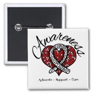 Lung Cancer Awareness Mosaic Heart Buttons