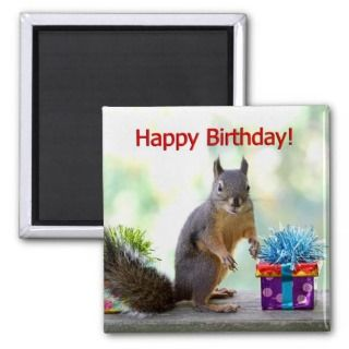 Happy Birthday Squirrel Refrigerator Magnet