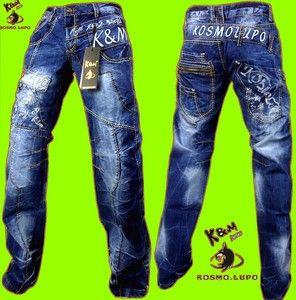 Kosmo Lupo KM322 Designer Jeans Hose Cargo Herren Stone washed