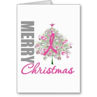 Merry Christmas Breast Cancer Pink Ribbon Wreath Greeting Card