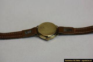 Wunderschöne Luxus Gold Uhr mit Lederarmband 585 14 Karat Damen Gold