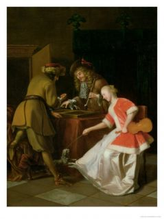 Tric Trac Players with a Lady and Her Dog Giclee Print by Jacob Ochtervelt