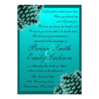 Rustic winter blue pine cone wedding invitations
