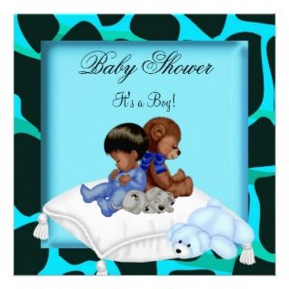 African American Baby Shower Boy Animal Bear Custom Invitation