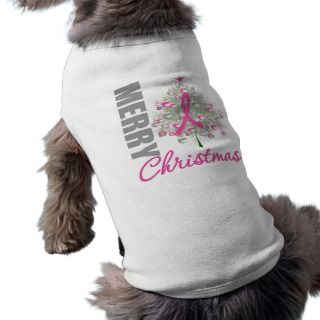 Merry Christmas Breast Cancer Pink Ribbon Wreath Doggie Tshirt