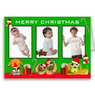 Add 3 Photos In One Merry Christmas Card Puppy Gre card